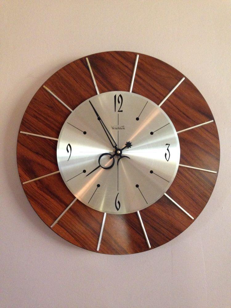 Mid Century Verichron Vintage Wall Clock Starburst Gold Wood