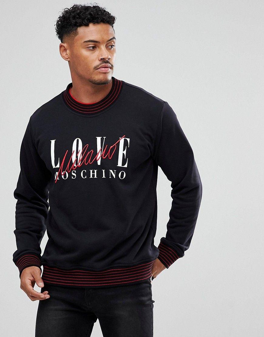 Love Moschino Sweatshirt In Black With Milano Logo Black Long Sleeve Tshirt Men Sweatshirts Moschino