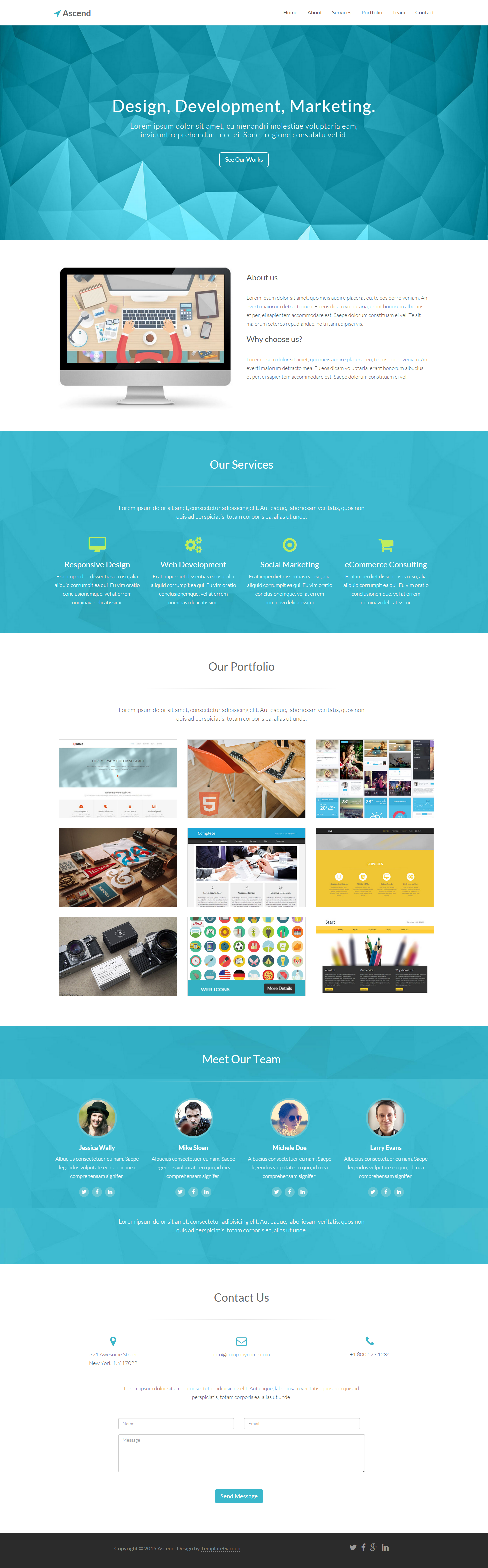 Ascend – Free One Page Bootstrap Template | Free Creative Agency ...