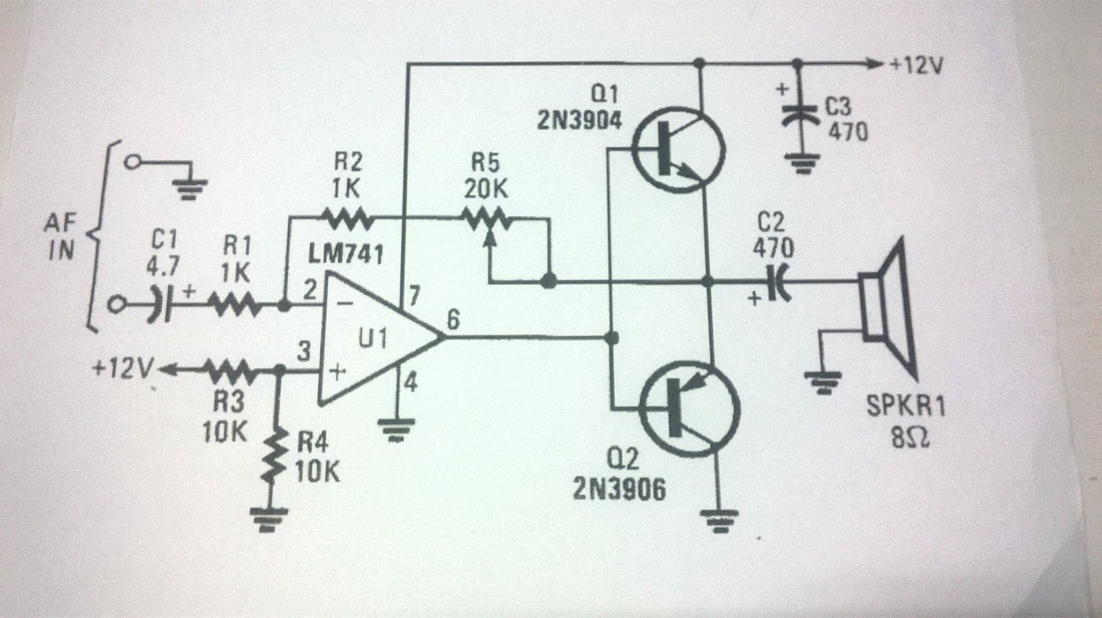 Lm741 Class A Power Amplifier Based Op Amp Tl071c Diy Electronics Projects Audio Circuit
