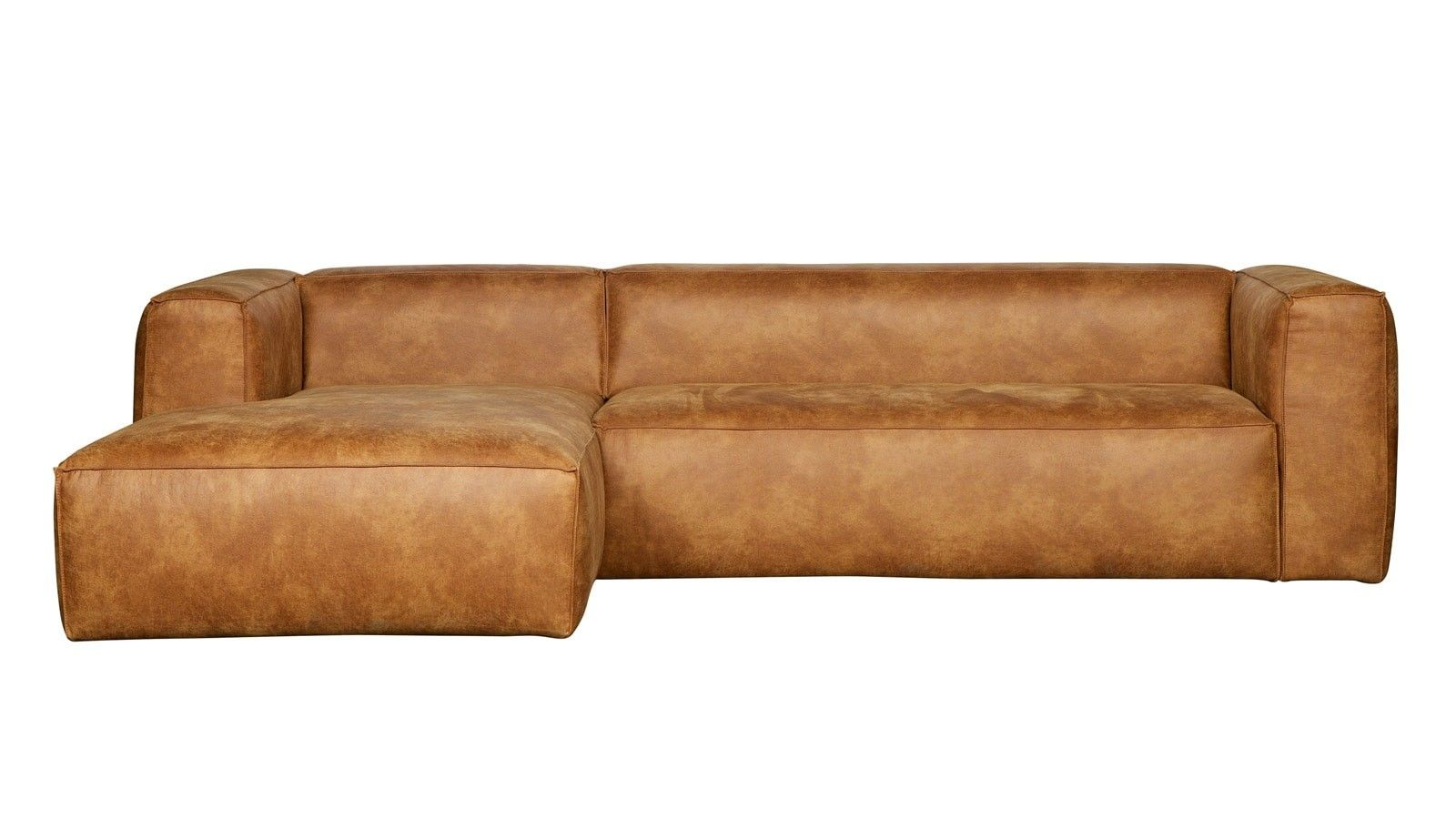 Canapé d'angle gauche en cuir vintage – Collection Bean – Woood