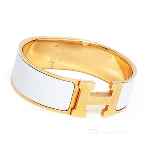 White Hermes Clic Clac H Bracelet Gold With Enamel Product Model Availability In Stock Color Material Size