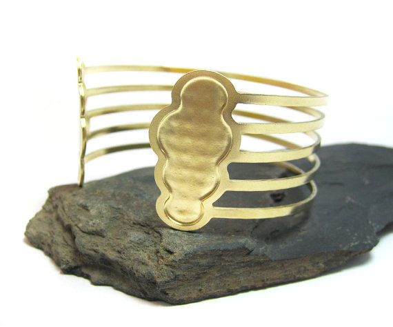 Gold cloud cuff Bracelet, Rainbow Bracelet, Stripes bracelet, Open cuff,  Handmade, Geometric bracelet, Art Deco, Arm jewelry, Greek cuff