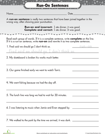 Work on Writing: Run-On Sentences | Sentences, Worksheets and ...
