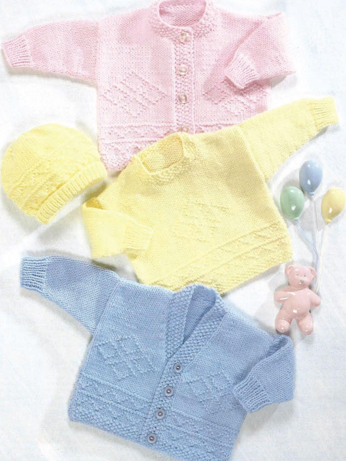 Baby aran sweater cardigan & hat knitting pattern 16/24 (503)   Babies