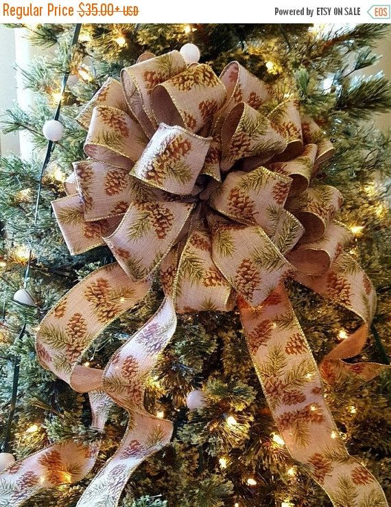on sale pine cone christmas tree topper bow by shannonkristina - Rustic Christmas Tree Decorations For Sale