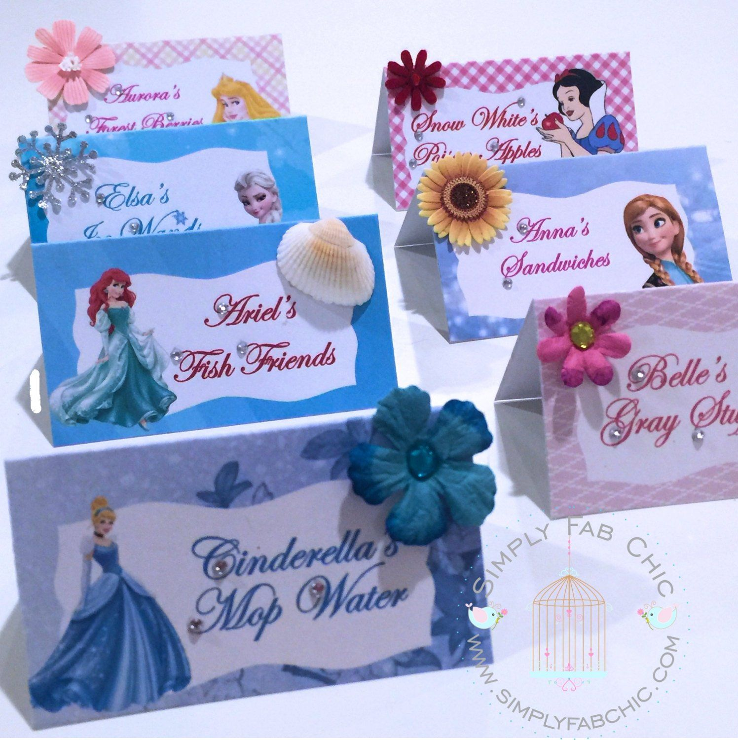 Disney Princess Tent Style Food Table Labels Name Card Personalized Birthday Party #disneyprincess