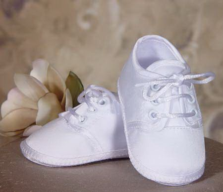 Girls Polyester Satin Christening Shoes with Celtic Cross and Rosette