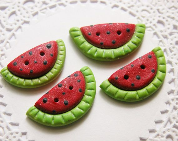 Watermelon Buttons Polymer Clay Children's by DreamPrincessSupply, $7.95