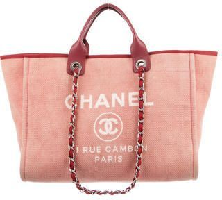 4190919e3468 Chanel Large Deauville Tote - pink, maroon leather trim, three pockets at  interior walls