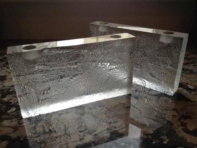 """SOLD    Pair Lucite Block Candle Holders signed 1987. 5"""" x 9"""" x 1 3/8"""". Very good condition.  pinned with Pinvolve"""