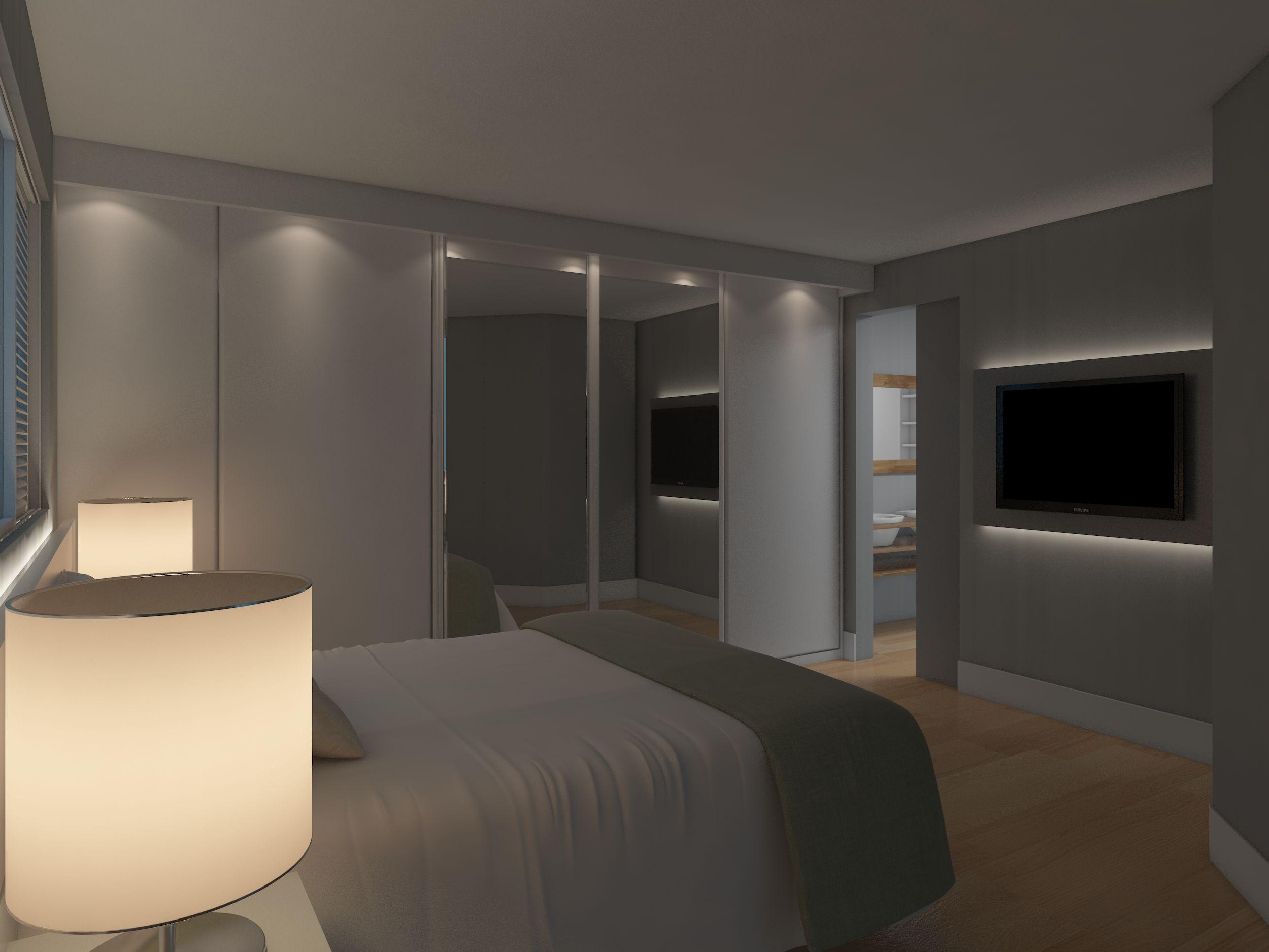 Projecto de reforma integral apartamento em Vila Nova Conceição (SP) de 55 mq. Soluções de moveis dinâmicos que se transformam. Detalhe da Suite.