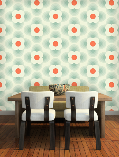 beautiful orla kiely wallpaper striped petal with orla. Black Bedroom Furniture Sets. Home Design Ideas