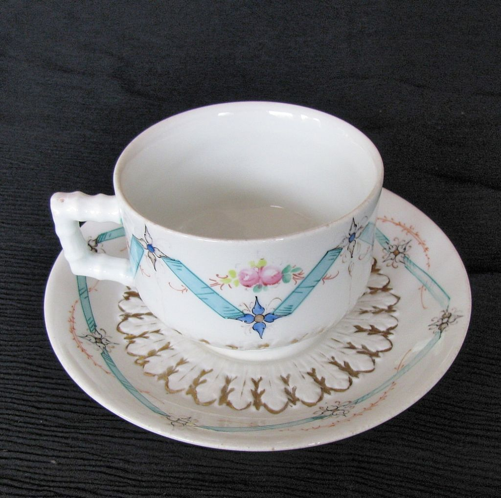 Bodley Breakfast Cup & Saucer, Blue Ribbons & Flowers, Antique English from owensantiques on Ruby Lane