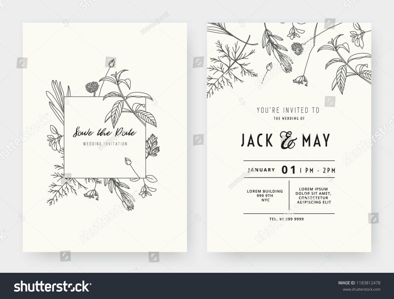Minimalist Wedding Invitation Card Template Design Floral Blac Minimalist Wedding Invitations Modern Wedding Invitation Wording Wedding Invitation Card Design