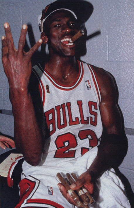 Im Not Sure If The GOAT Was Counting Championship Rings At This Point Or Number Of Un Lit Cigars He Is Holding