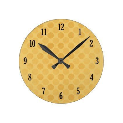 Retro faded yellow circles pattern round clock - decor gifts diy home & living cyo giftidea