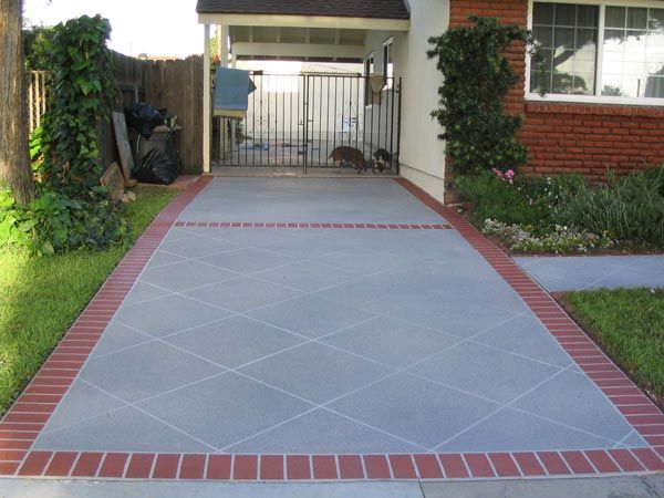 stamped concrete brick border patio decorative concrete on concrete driveway - Concrete Driveway Design Ideas