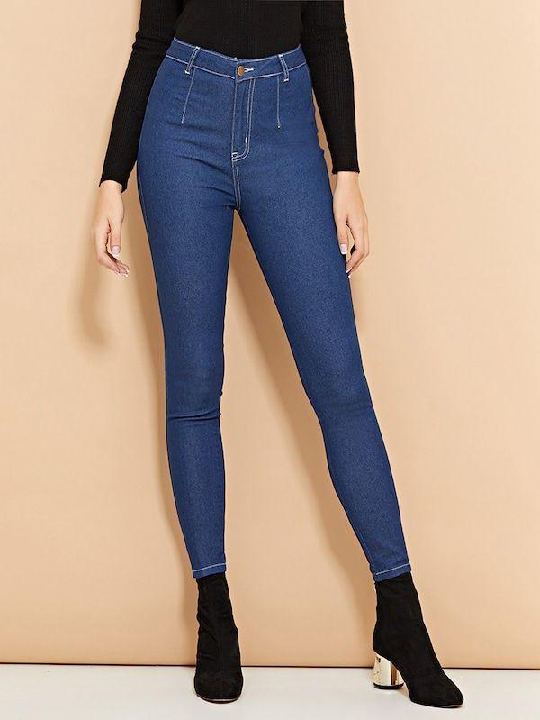 efcfc4a5dc Contrast Stitch Skinny Jeans -SheIn(Sheinside) | Closet wishes ...