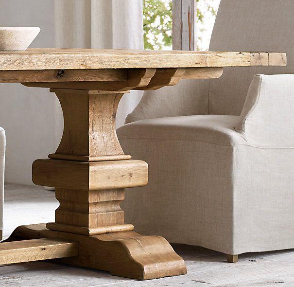 Dining Room Table Slides: Reclaimed Russian Oak Baluster Rectangular Extension