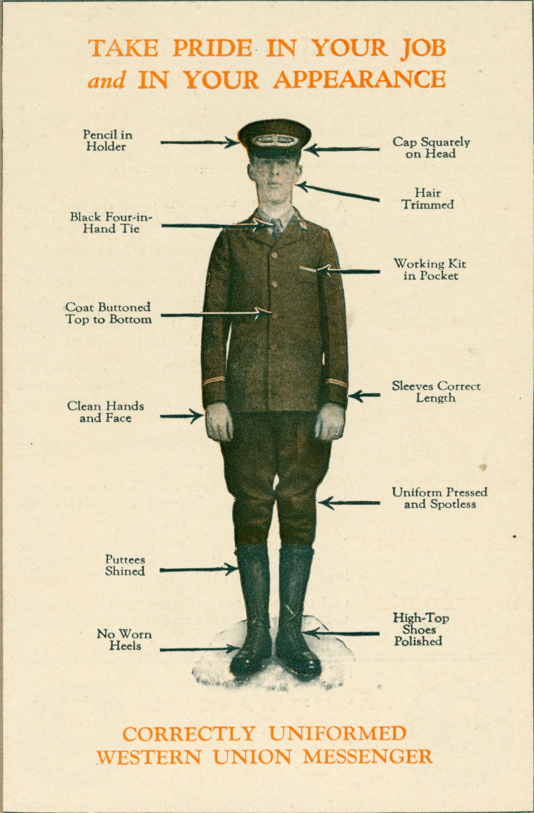 Dress code for WesternUnion messengers. Proper attire