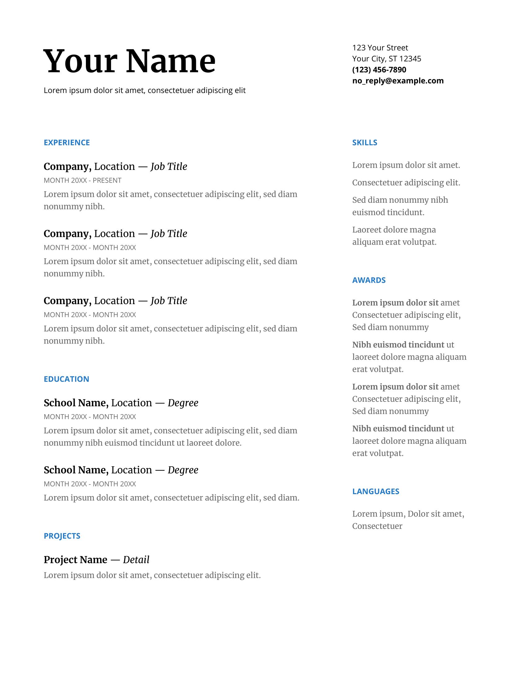 Sample Resume Templates Google Docs in 2020 Downloadable