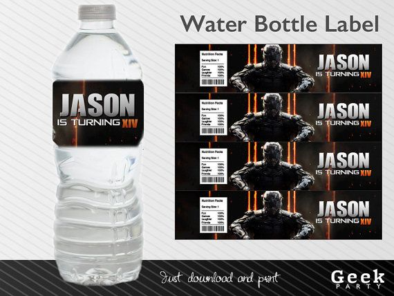 Call of Duty Black Ops Water Bottle Label Printable by GeekParty - water bottle label template
