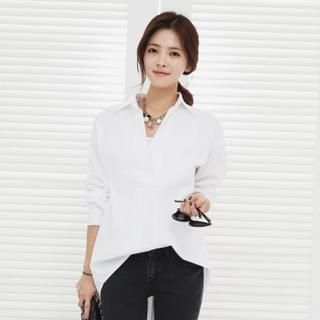 Buy 'Soneed – Shirt Collar Dip-Back Cotton Top' with Free International Shipping at YesStyle.com. Browse and shop for thousands of Asian fashion items from South Korea and more!