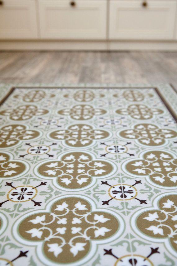 Tiles Pattern Decorative Pvc Vinyl Mat Linoleum Rug