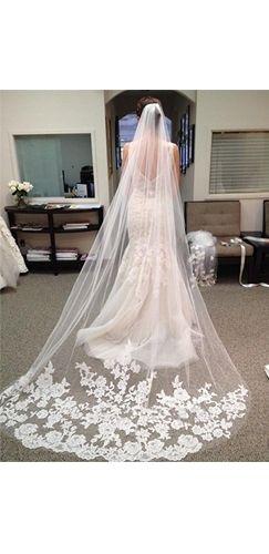 White Long Sheer Lace Trim Wedding Bridal Veil Comb
