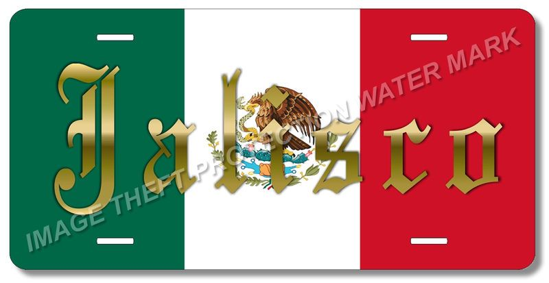 Jalisco Mexico 100 Aluminum Vanity License Plate Tag 6 X 12 Green White Red