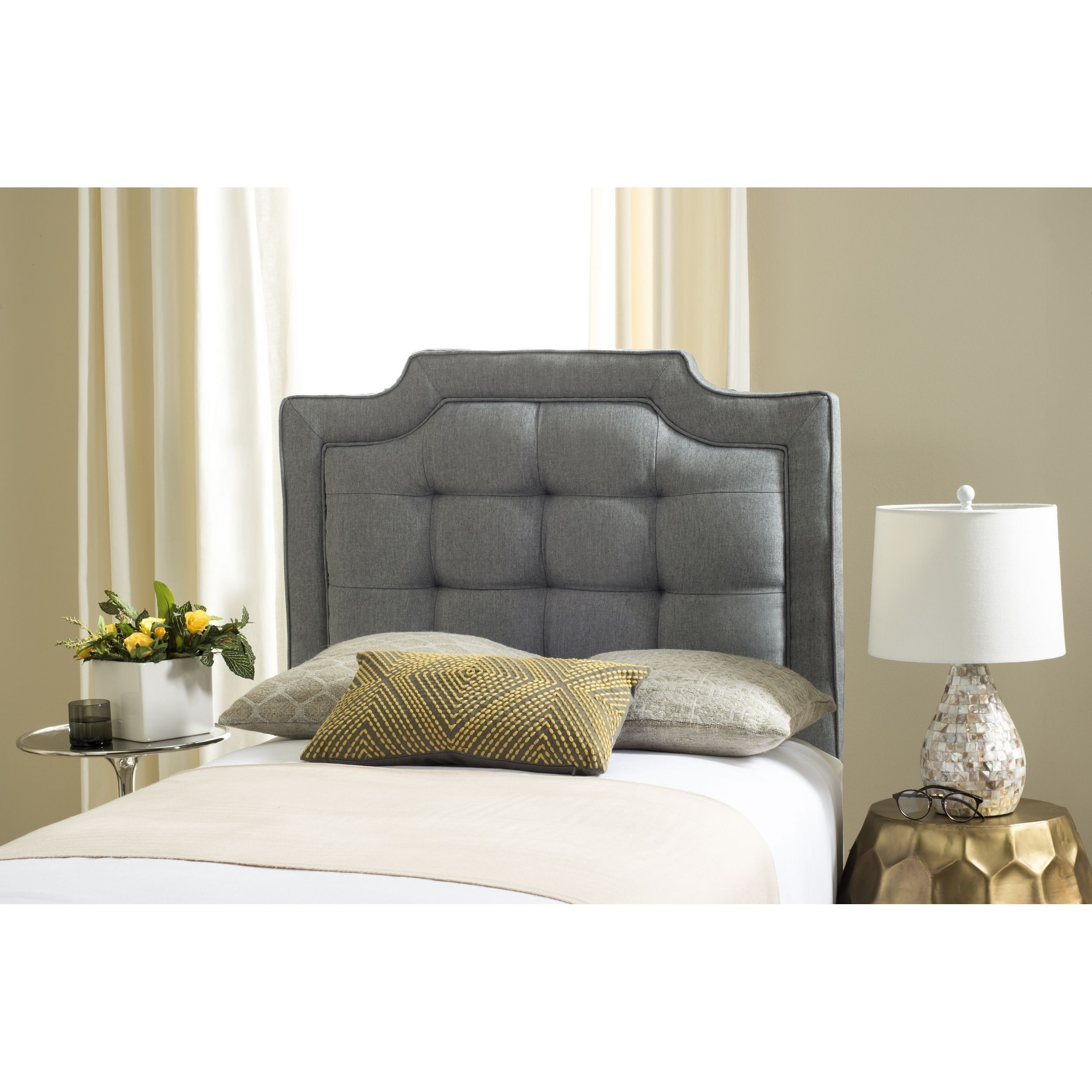 Safavieh Saphire Grey Upholstered Tufted Headboard Twin Gray Home Decor Modern Headboard Modern Decoration