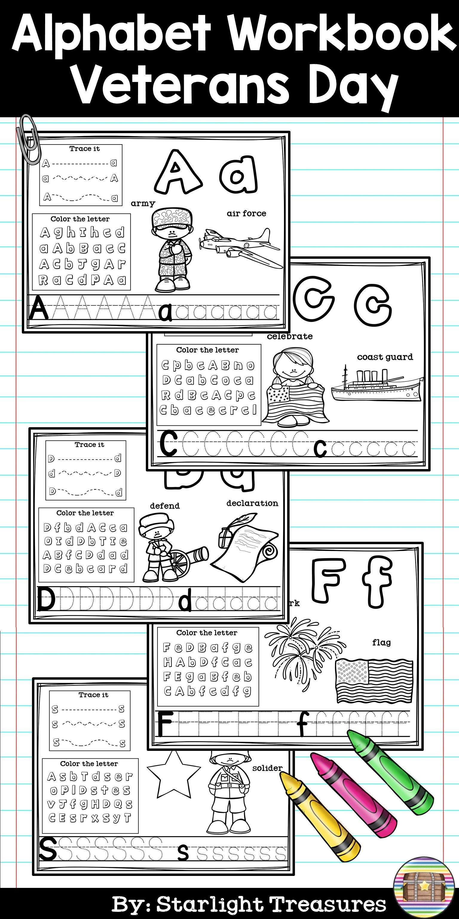 Alphabet Workbook Worksheets A Z Veterans Day Teaching The