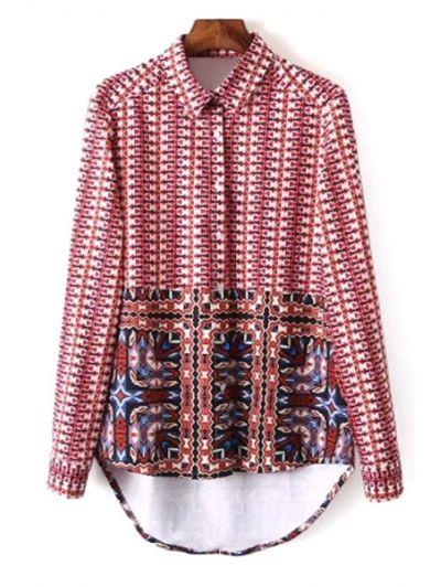 Turn Down Collar Long Sleeve Printed Red Shirt #womensfashion #pinterestfashion #buy #fun#fashion