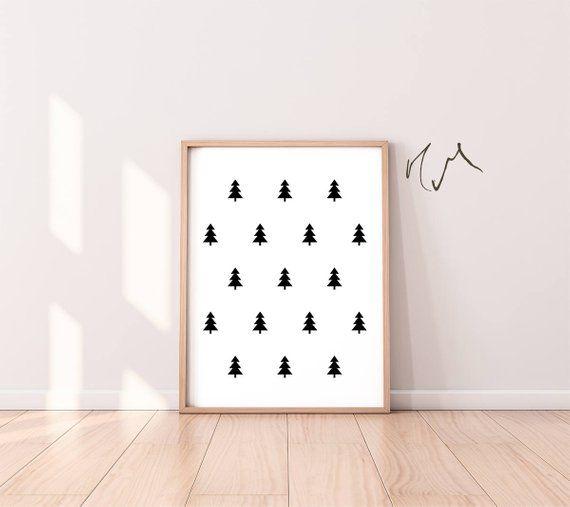 Minimalist Pine Tree: Instant Download, Modern Art Poster, Pine Trees