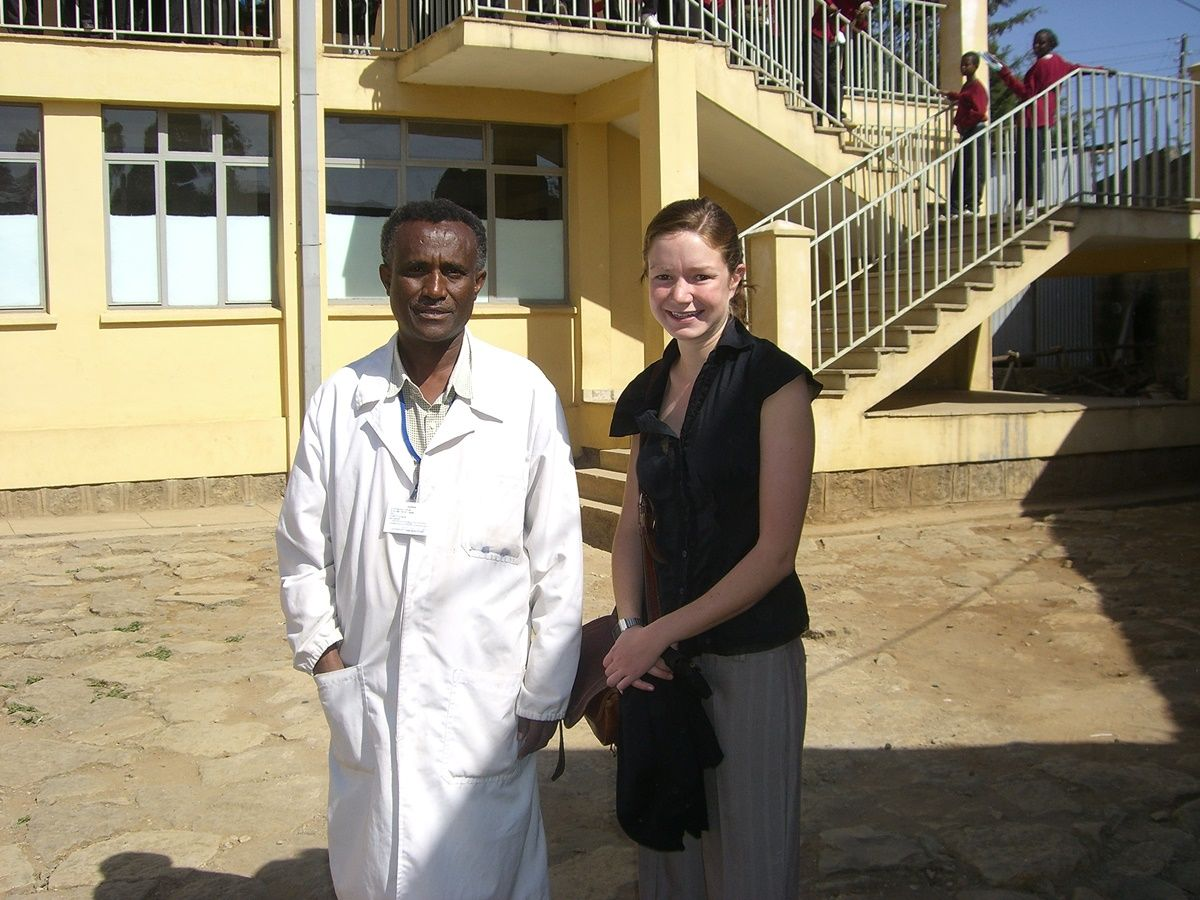 A medical intern with a local doctor at her placement in Ethiopia.