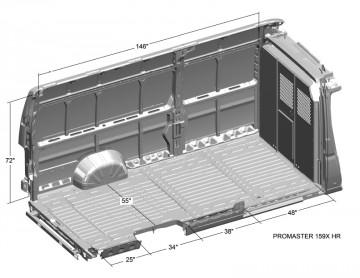Ram Promaster High Roof 159 Extended Van Interior Dimensions In 2020 Van Interior Van Conversion Interior Van