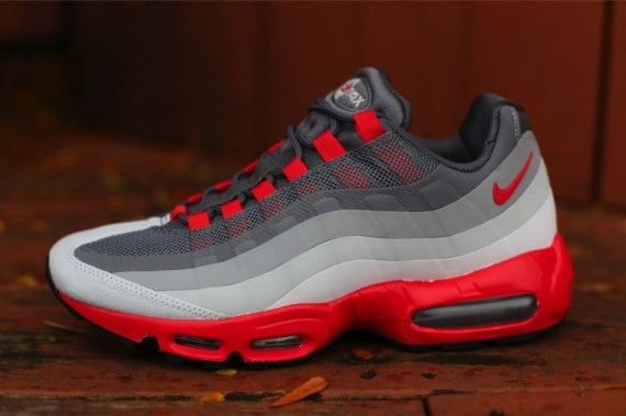 Attractive Nike Air Max 95 Essential Anthracite Wolf Grey Team Red 749766 025 Men's Running Shoes #749766 025