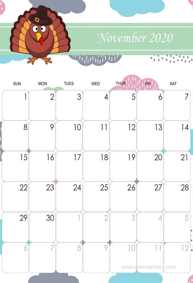 November 2020 Thanksgiving In 2020 Kids Calendar Cute Calendar November Printable Calendar