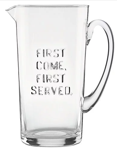 first come first served kate spade glass pitcher