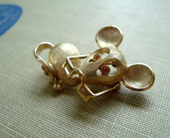 Vintage Gold Mouse Pin With Spectacles Animal by LobeliaBidelia