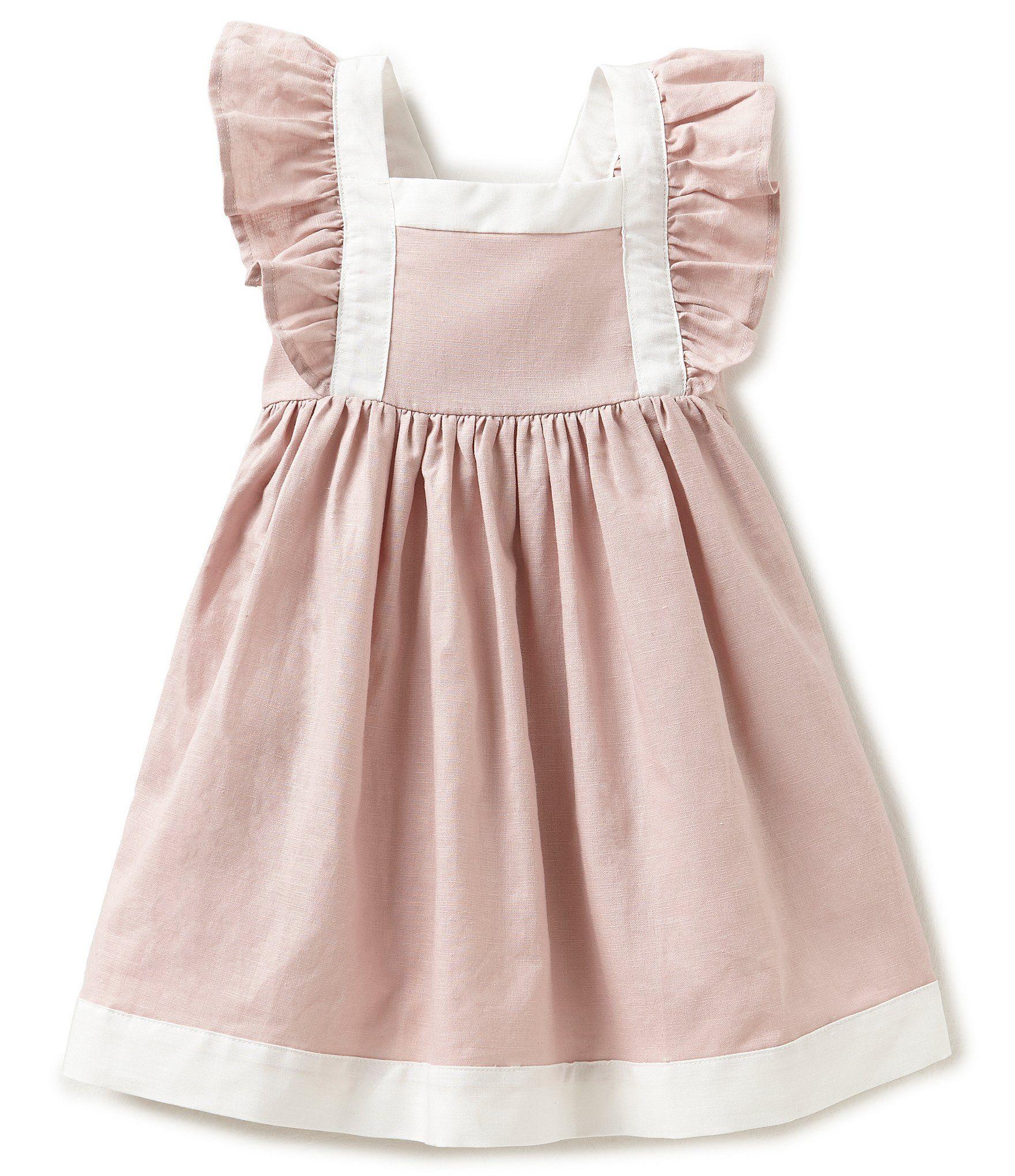 840e77c3b112 Edgehill Collection Little Girls 2T-4T Linen Flutter-Sleeve Dress ...