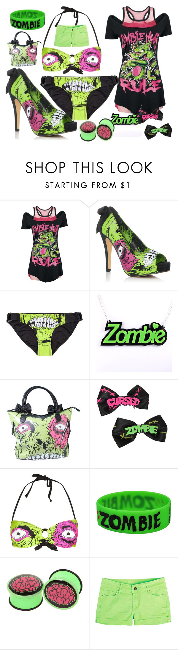 """""""ZOMBIE!"""" by sammy-elmo ❤ liked on Polyvore featuring JustFab, Iron Fist and Goodie Two Sleeves"""
