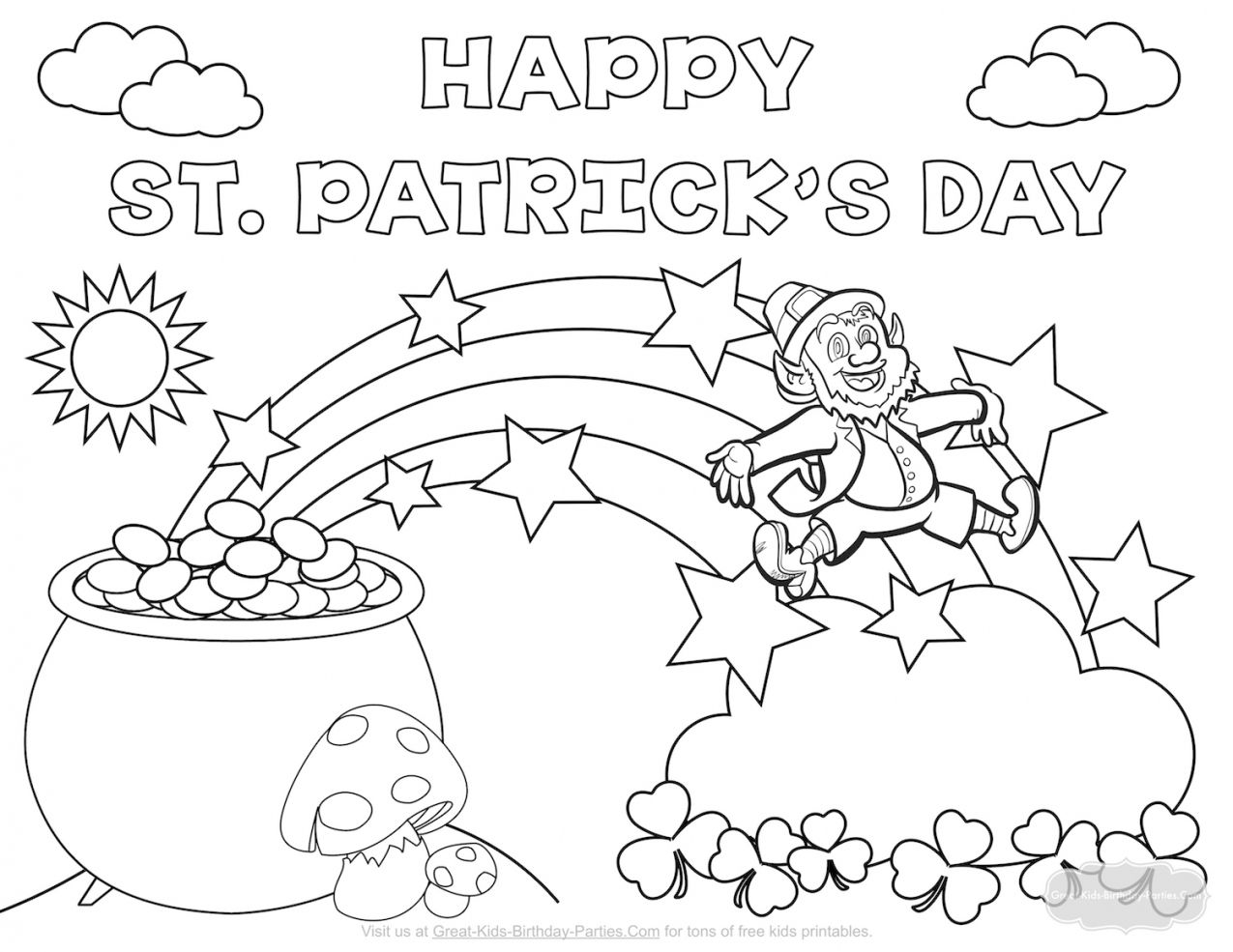 St Patricks Day Coloring Page Bertmilne Intended For
