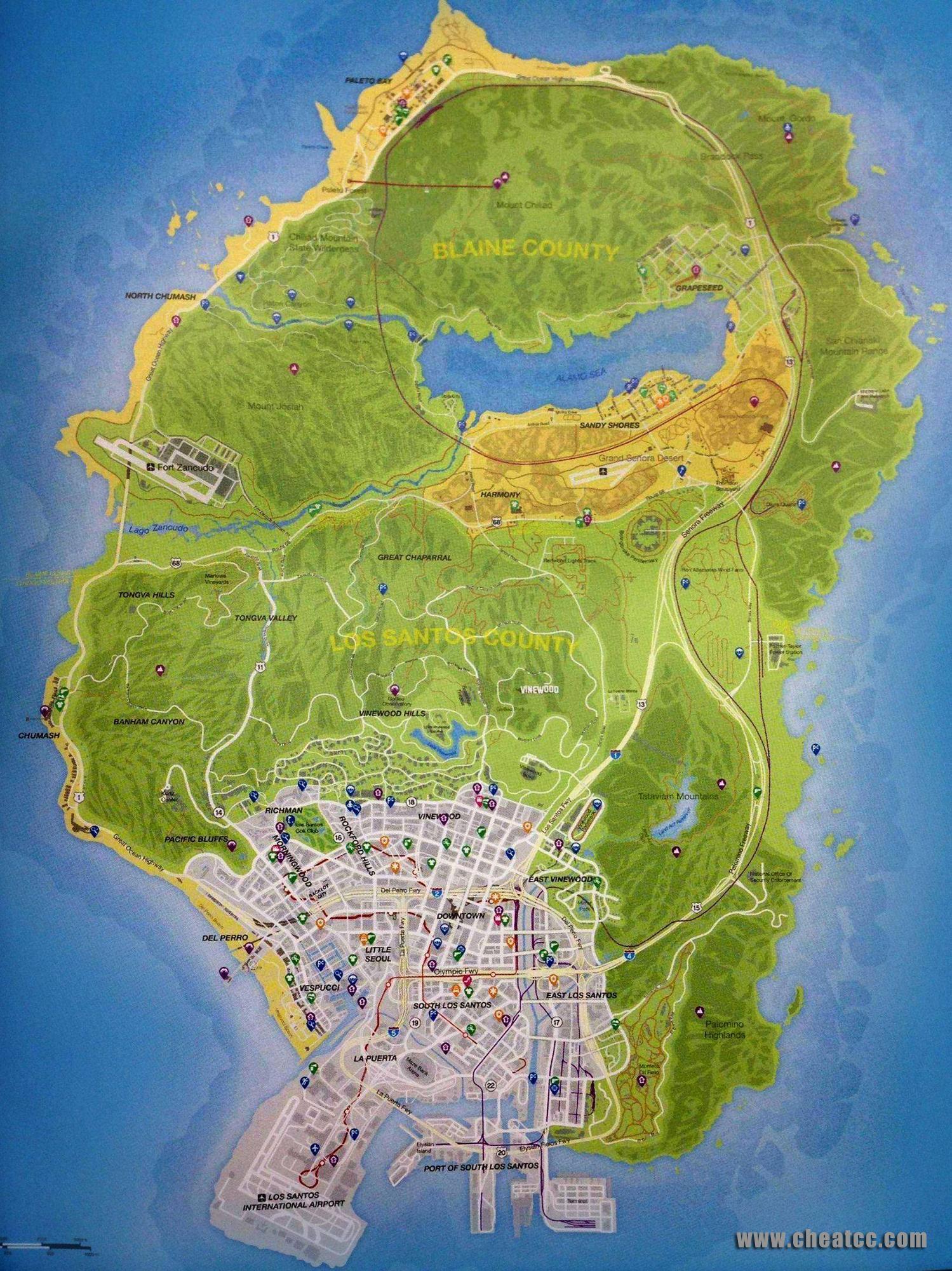 Gta 5 Full Map Jpg 1499 2000 Grand Theft Auto Gta Gta V Cheats