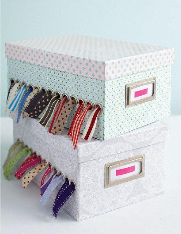Ribbon Spool Holder Box Torie Jayne Sewing Room Organization