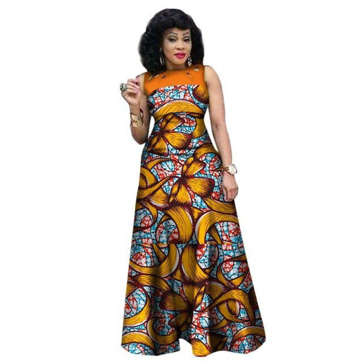 73d13129bbe African Dresses For Women African Print Clothing Sleeveless Sexy Maxi Style