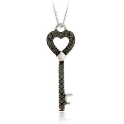 Sterling silver black diamond accent designer heart key pendant sterling silver black diamond accent designer heart key pendant price 2570 mozeypictures Images