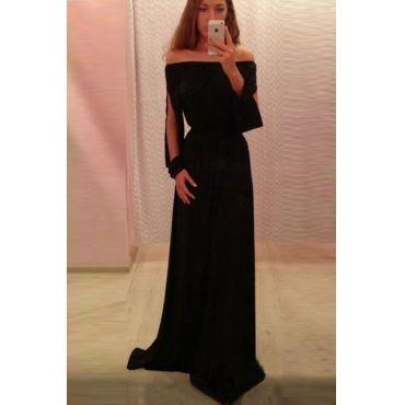 USD10.49Cheap Sexy Bateau Neck Off The Shoulder Long Sleeves Split Black Chiffon Ankle Length Dress