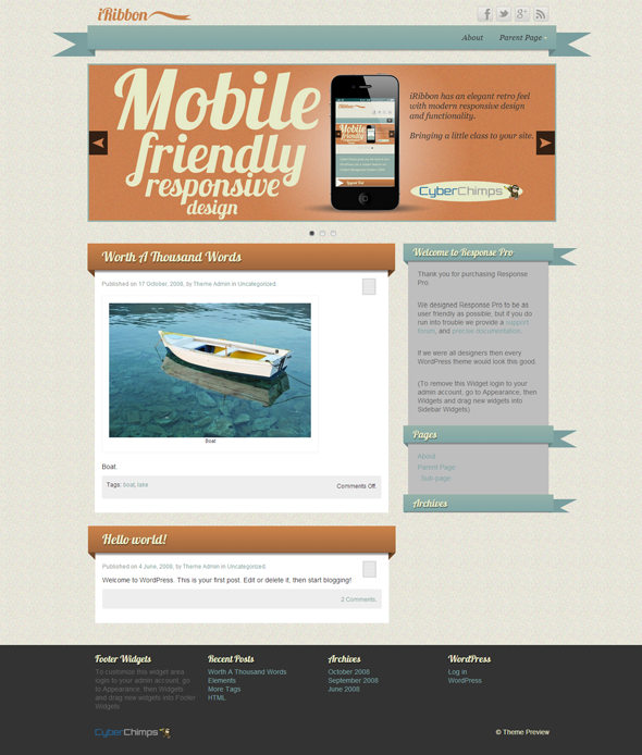 iRibbon Wordpress Theme by Cyber Chimps. 10 Spectacular Free ...